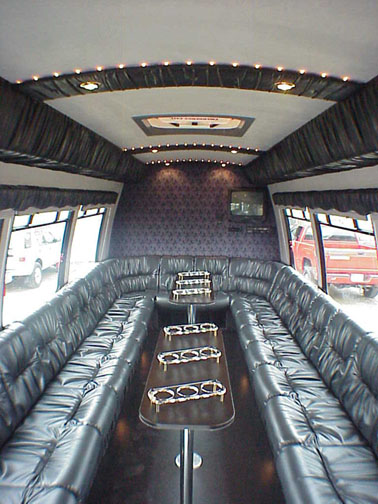 Limousine bus for Custom party bus interiors